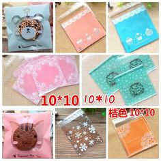 10x10+3cm 50pcs/lot Self Adhesive Plastic Food Packages Gift Bags Bolsas De Plastico Party Handmade Food Cookie Biscuits Bags
