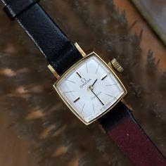 Omega Geneve Hand Wind Analog Vintage Lady's Wristwatch, Golden frame #Omega #Vintage