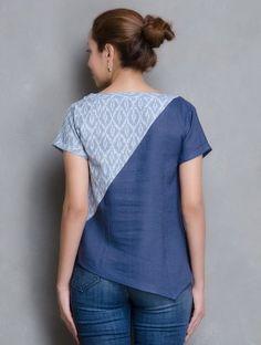 Indigo-Blue V Neck Ikat Linen Top
