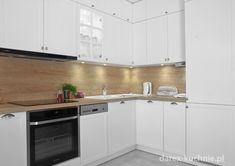 Biała kuchnia z drewnianym blatem - Darex Szczecin Hygge, Kitchen Cabinets, Home Decor, Decoration Home, Room Decor, Cabinets, Home Interior Design, Dressers, Home Decoration