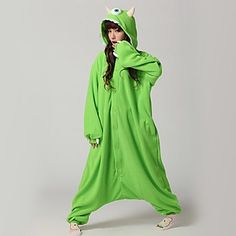 Adorable Green One-Eye Monster Kigurumi Pajamas! Monsters can be cute & fun & cozy and not scary at all))) Click on the picture to check it out