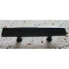 """Vine Designs LLC Vetro Gloss 3"""" Center Bar Pull Hardware Finish: Oil Rubbed Bronze, Pull Color: Teal"""