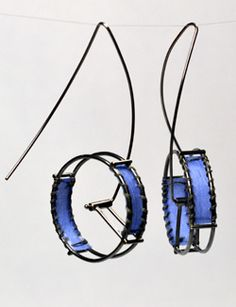 Hilary Hachey, jewelry artist; silver & fabric.