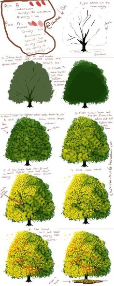 Digital painting tutorial - How to paint a tree Digital Painting Tutorials, Digital Art Tutorial, Painting Tools, Art Tutorials, Drawing Tutorials, Digital Paintings, Trees Drawing Tutorial, Watercolor Tutorials, Face Paintings