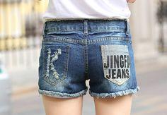 Cheap 2015 nueva moda de señora Sexy Shorts Denim para mujeres de Jeans Shorts mujer Sexful pantalones carta imprimir tamaño : 25 36 C0160, Compro Calidad Pantalones cortos directamente de los surtidores de China:           Bienvenido a factorydirectsale moda!           1.    Somos profesion