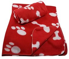 Dog Bed Blankets - 38 x 30 Inch Dog Blanket with Paw Print and Bones Pattern by FIDO Care Set of 2 Red Fleece ** Continue to the product at the image link. (This is an Amazon affiliate link)