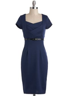 If only my hips weren't too wide to wear a pencil skirt silhouette. I can dream.....sigh. I Dream of Indigo Dress, #ModCloth