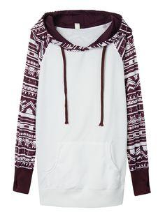 Casual Women Geometric Printed Patchwork Long Sleeve Hooded Sweatshirts @woohooshop