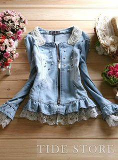 Boutique New Arrival Pearl Denim Jeans Jacket