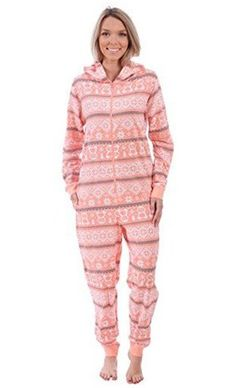24.99 Women s Pink Adult Plush Fleece Non Footed Onesie Pink Ladies d5d7e6f17