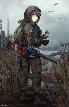 Loner [Stalker] : Gunime Art Anime, Chica Anime Manga, Anime Art Girl, Anime Military, Military Girl, Anime Warrior, Anime Demon, Fanarts Anime, Anime Characters