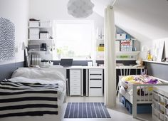 Privacy is important to kids sharing a room, especially when an older child is sharing with a younger one.  Create a screen with floor-to-ceiling curtains or fabric that can be opened to close off an area, and pulled back to allow for easy movement around the space.