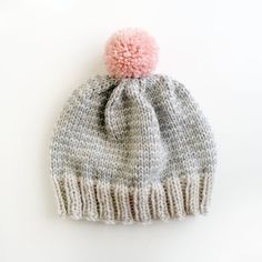 The Stripe-A-Thon Hat in Platinum, Heather Grey , Bubblegum Pink - MADE TO ORDER on Etsy, $34.00