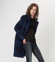 maje KAROLINA Striped Wool Overcoat at Maje US