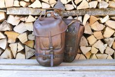 RARE Swiss Army Pack Saddle Bags from Swiss Military Motorcycle Bags Leather Laptop Bag, Leather Bags, Leather Men, Leather Backpack, Swiss Army Bag, Swiss Design, Vintage Leather, Axe, Saddle Bags