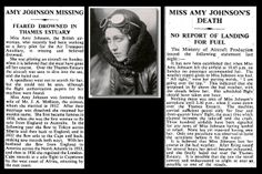 """""""Tragic loss in sight of a ship in the Thames Estuary."""" KB 5th January 1941 - Death of Amy Johnson"""