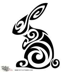 tribal chinese bunny tattoo | Tribal tattoos: Tatuaggio di Coniglio tribale,Sensibilità, fortuna ...