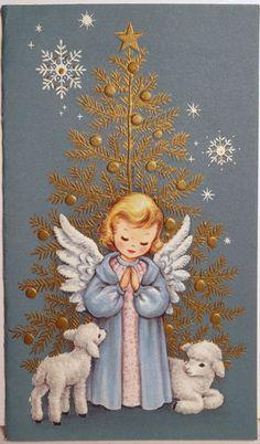 1950s Sweet Praying Angel Lambs Vintage Christmas Card