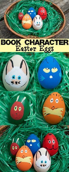 These children's book character Easter eggs are SO ADORABLE! I can't stand how cute these are! Pete the Cat, Lorax, Very Hungry Caterpillar, Clifford and even Skippyjon Jones! These would be perfect in my classroom or at home for my preschool & toddler to play with!