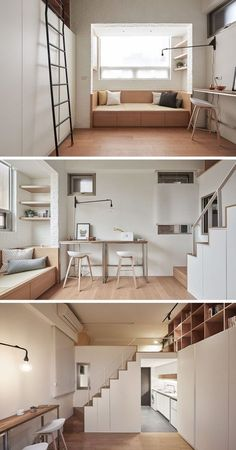 This small apartment has a built-in sofa to provide comfortable seating, and a bar tables have been placed against the wall to be used as a desk or counter area. If needed, the tables can be moved into the center of the room and an act as a dining table.