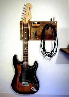 Guitar / cable / pick / slide Holder Made with Wood - Guitar / cable / pick / slide Holder Made with Wood - Guitar Storage, Guitar Display, Home Music Rooms, Music Studio Room, House Music, Guitar Decorations, Guitar Wall Hanger, Guitar Cable, Guitar Room