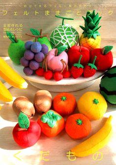 felt fruits Felt Diy, Handmade Felt, Cork Crafts, Felt Crafts, Felt Fruit, Felt Play Food, Food Patterns, Fabric Toys, Sewing Toys