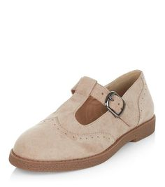 Light Brown Suedette T-Bar Strap Brogues  | New Look