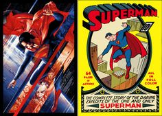 "Left: Martin Ansin's Mondo poster for ""Man of Steel."" Right: Joe Shuster's cover for the first ""Superman"" comic, published in 1939. (Mondo)"