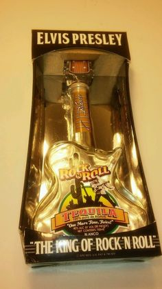Elvis Presley Limited Edition Rock N Roll Tequila Guitar Bottle & Box-Empty-Rare