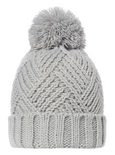 Boost your winter essentials with this versatile grey beanie, which features a chunky cable knit and a pom pom top. Motifs Beanie, Knit Beanie Pattern, Mittens Pattern, Loom Knitting Patterns, Knitting Designs, Motif Mandala Crochet, Loom Bands, Knitted Hats, Crochet Hats
