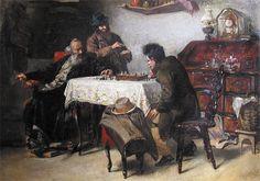 """Иеуда Эпштейн. Игра в шахматы. 1904 год. Холст, масло; 41х57 Первой выдающейся работой художника была картина """"Евреи за игрой в шахматы"""