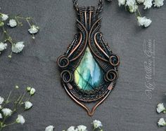 Elven inspired Antiqued Copper and Labradorite Necklace - pendant, gemstone, jewelry, wire wrapped, wire, rustic, bohemian, green