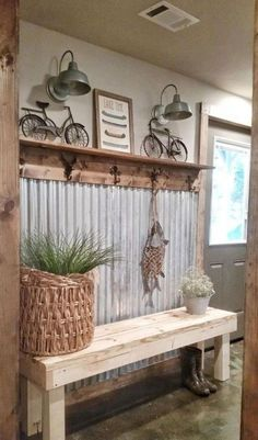 48 Amazing Farmhouse Entryway Mudroom Design Ideas - Farmhouse Decor - Make Up Hacks - Wire Wrapped Jewelry - Wedding Hairstyle - Best Home Decor Ideas Rustic Farmhouse Entryway, Country Farmhouse Decor, Rustic Decor, Farmhouse Style, Farmhouse Ideas, Farmhouse Design, Farmhouse Bench, Rustic Style, Farmhouse Interior