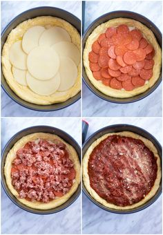 This Chicago Deep Dish Pizza is without a doubt the best in the world! With it's flaky buttery deep dish crust layers of ooey gooey cheeses and customizable toppings and a thick layer of the most flavourful tomato sauce — no other pizza compares! Pizza Recipes, Cooking Recipes, Chicago Style Pizza, Sauce Pizza, Pizza Hut, The Best, Food To Make, Food And Drink, Pasta