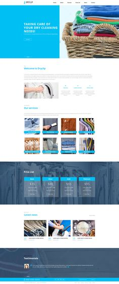 Dryclip is one of the simplest design for # Dry Cleaning business. It has the yearly plans, testimonials and the latest news section which makes this template serving with added skills to attract more customers.