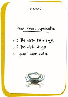 keep your fresh flowers fresh  3 tbsp white table sugar  2 tbsp white vinegar  1 quart of warm water. Good to know for home use or for parties or dinners.