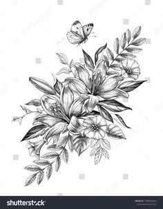 Hand drawn floral bunch with Lily and Bindweed flowers and flying butterfly isolated on white background. Pencil drawing monochrome elegant flower composition in vintage style, t-shirt, tattoo design. Mommy Tattoos, Cute Tattoos, Beautiful Tattoos, Body Art Tattoos, Sleeve Tattoos, Sketch Tattoo Design, Floral Tattoo Design, Tattoo Designs, Floral Mandala Tattoo