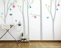 The Decal Guru Birds and Birch Trees Wall Decal Color: Gray Macbook Decal Stickers, Wall Stickers, Diy Room Decor For Girls, Birch Tree Wall Decal, Name Wall Decals, Vinyl Decals, Dream Wall, Nature Decor, Do It Yourself Home