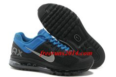 Mens Nike Air Max 2013 Black Silver Blue Shoes    #Black  #Womens #Sneakers