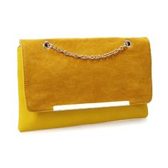 BMC Fashionably Chic Mustard Madness Faux Suede Leather Gold Metal Chain Envelope Clutch Handbag: Handbags: Amazon.com saved by #ShoppingIS