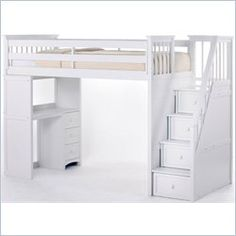 Shop brands :: N. Kids :: School House Collection (White) :: School House White Twin Staircase Loft Bed Only - Kids Bedroom Gallery, N.'s largest bedroom specialty store Loft Bunk Beds, Bunk Bed With Desk, Bunk Beds With Stairs, Teen Loft Beds, Loft Bed With Couch, Loft Bed Stairs, Loft Beds For Small Rooms, Mezzanine Bed, Loft Staircase