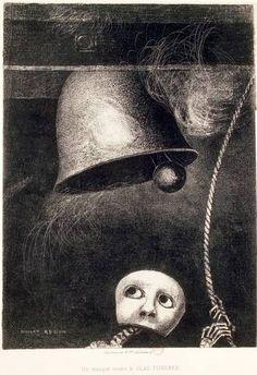 Odilon Redon. 'A Edgar Poe / plancha III: Una máscara toca el toque fúnebre' (1882). Litografía.