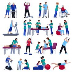 Physiotherapy rehabilitation sessions for people with cardiovascular geriatric and neurological disorders flat icons collection isolated vector illustration , Pilates Reformer, Medical Art, Retro Cartoons, Kid Character, Physical Therapist, Icon Collection, Girl Reading, Cartoon Kids, Vector Free