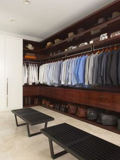 Detroit storage for him. Gorgeous closets aren't just for women — men need their space too! Neat and tidy spots for hats, shoes and bags made this bachelor closet shot worth saving