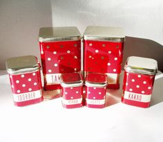 Tin Canisters Vintage Red Polka Dot Tin Boxes Set by MerilinsRetro