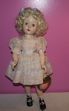 """Gorgeous Effanbee Rare Tintair """"Honey Doll"""" in original outfit & wrist tag Circa 1950"""