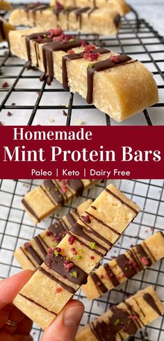 These homemade mint protein bars are a great low carb snack or healthy dessert. They're made with almond flour, collagen peptides, coconut butter and sweetened with monk fruit. These low carb protein bars are paleo, keto and no bake! #mintproteinbar #proteinbars #homemade #paleo #collagen Dairy Free Keto Recipes, Gluten Free Snacks, Diabetic Recipes, Free Recipes, Snack Recipes, Low Carb Protein Bars, Protein Bites, High Protein, Low Sugar Snacks