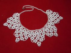 FREE SHIPPING White necklace wedding by UkrainianBeadJewelry
