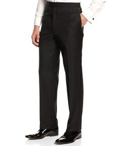 Lauren Ralph Lauren Flat-Front Black Tuxedo Pants