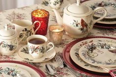 Winter Greetings by Lenox is a versatile pattern to set a table with a holiday mood. Christmas China, Spode Christmas Tree, Whimsical Christmas, Holiday Mood, China Patterns, Deco, Tis The Season, A Table, Tea Time